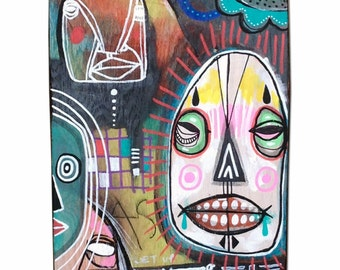 Galore - Original Mixed Media Art on found wood Panel - 2014