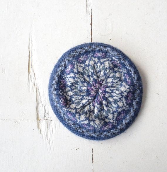 Fair Isle Beret Knitting Pattern : Fair Isle Hat / Knit Beret / Blue Knit Tam by SmallEarthVintage