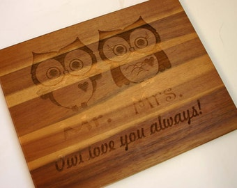 Owl Couple Engraved Acacia Wood Cutting Board Mr Mrs Owl Etched Cutting Board Laser Engraved Wedding Gift