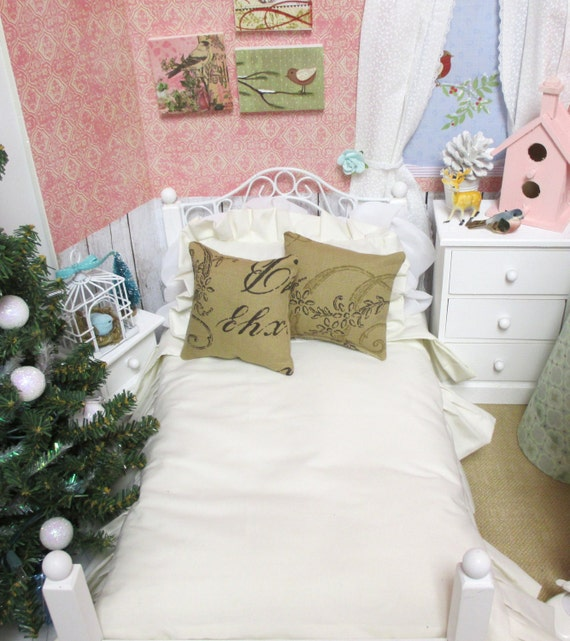 """Ruffled Cream Doll Comforter Set with 2 French Script Pillows-18"""" AG Doll Bedding"""