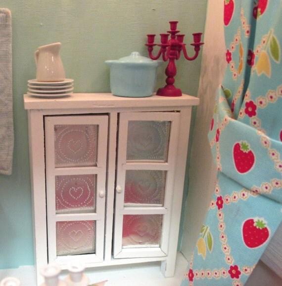 White  pie safe-1:12 scale dollhouse miniature