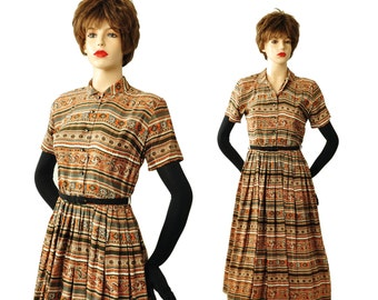 Vintage 1950s Striped Dress S - Rhinestone Button Front