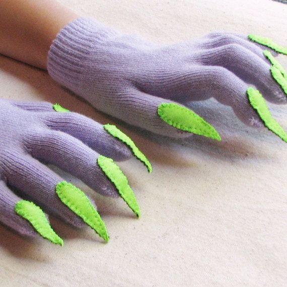Gloves with claws, lavender purple and green, for Halloween costume or pretend play, one size stretch glove