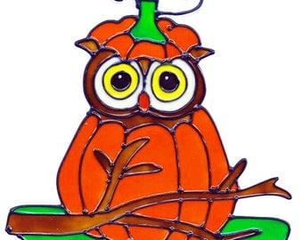 Owl Pumpkin Faux Stained Glass Window Cling