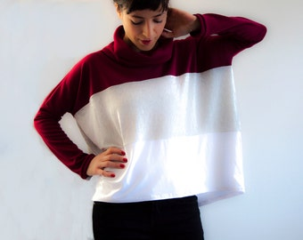 Oversized Tee / Wide fit t-shirt / Cowl Neck Top / Long Sleeves / Turtle Neck Blouse / Crystabyolinda TROIS