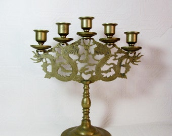 Double Dragon Solid Brass Five Candle Candelabra