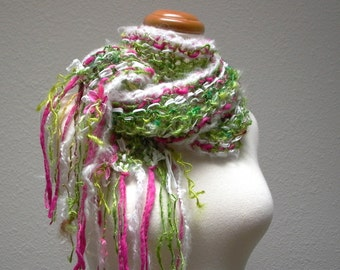 first frost. handknit art yarn scarf . enchanted rose garden snow fairy flowering knit scarf mohair wool curly locks . green pink white