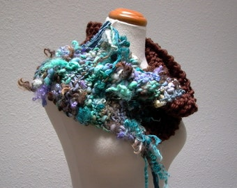 surf and turf. chunky knit cowl . rustic bohemian handknit neck warmer . handspun wool art yarn sari silk . brown teal turquoise lavender
