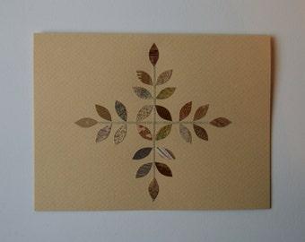 Gold Snowflake Note Card, Original Hand Cut Vintage Wallpaper, OOAK, Copper Crystal Pattern, Unique, Romantic, Modern, Simple, Retro, Lace