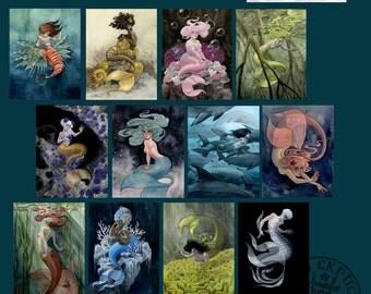 Mermaids 2 - set of 12 Postcards