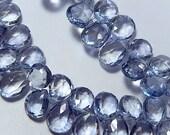 Semi Precious Gemstone Briolettes.  Mystic Blue Quartz Gemstones. Faceted Pear Briolettes, 10-11mm.  Packet of 2.  (0qzb5)