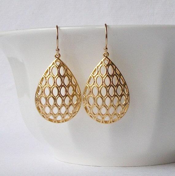 Gold Filigree Dangle Earrings