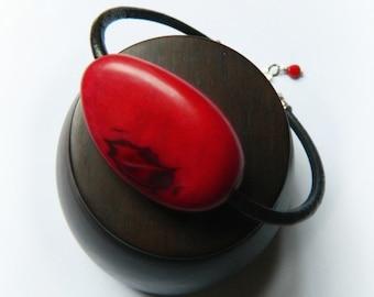 Tagua Nut Bracelet / Leather & Sterling Silver