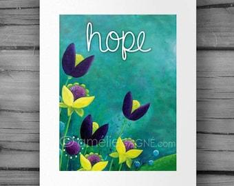 "Inspirational Print HOPE / 8"" x 10"" / Nursery Art Print / Wall Art /  by Amelie Gagne"