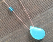 Drop of the Ocean Aqua Chalcedony Necklace