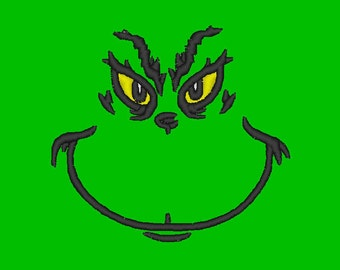 Grinch Face 4x4 hoop size Machine E mbroidery Download File .pes .exp ...