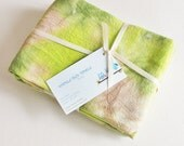 Hand Dyed Kitchen Towels - Flour Sack Tea Towel Set of 2 - Tie Dyed Dish Towels Olive Lime Green Garden Tan Cream Beige White Brown