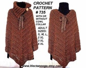 CROCHET Poncho PATTERN, cape, shawl, shrug, #735   Make it any length,  All women's sizes: s, m, l, xl, 2x., 3xl, 4xl