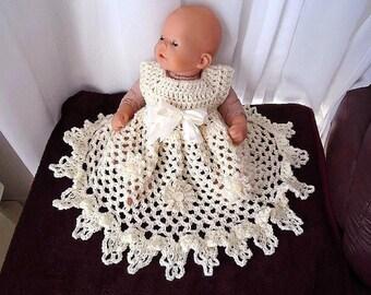 CROCHET PATTERN, Baby Dress - Girl's Dress- Christening Gown - ruffled bottom- newborn to age 6 - number 771