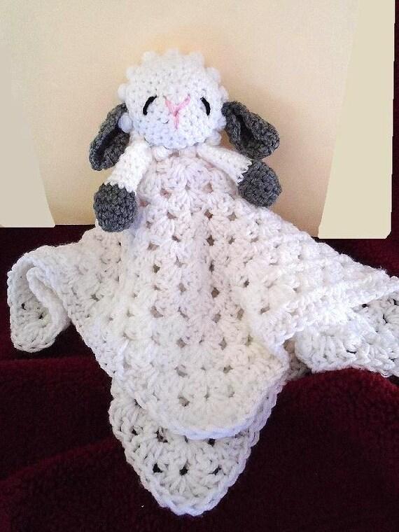 Free Crochet Lamb Cuddle Blanket Pattern : Crochet PATTERN, Little Baby Lamb Cuddle Blanket, baby ...