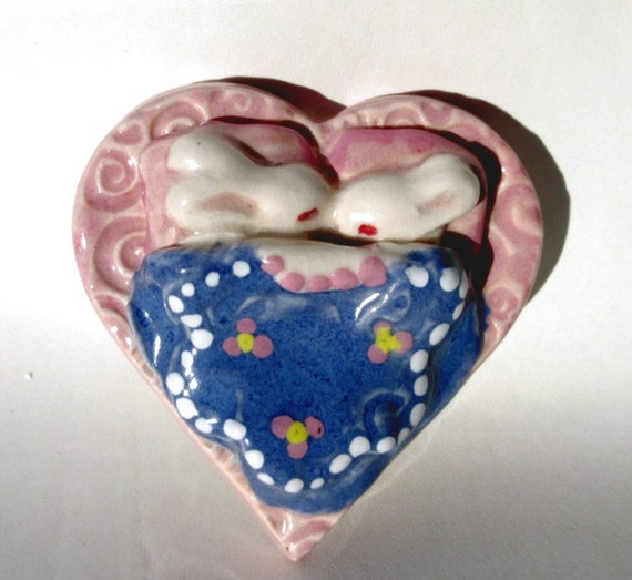 Snuggle Bunny Rabbit Miniature Paperweight, Art Sculpture Animal Decor Bunny Heart Bed With Flowers, Next Day Shipping