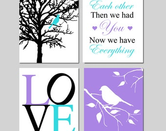 Purple Aqua Girl Nursery Art - Bird in a Tree, First We Had Each Other, Love, Bird on Branch - Set of Four 8x10 Prints - CHOOSE YOUR COLORS