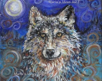 Wolf Art, original wolf painting, CUSTOM  WOLF art, Wolf totem wall art, modern wolf art, personalized wall art