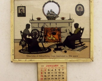 Vintage Silhouette Calendar Salesman Sample 1939 - Knitting - Spinning yarn - cats