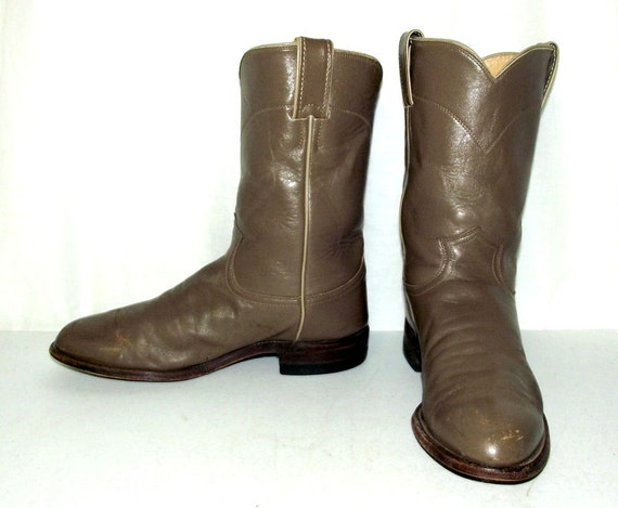 justin roper taupe cowboy boots mens size 7 5 d womens