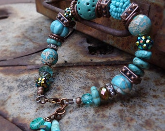 Chunky Turquoise torch fired glass enamel and stone bracelet