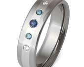 Titanium Platinum Diamond and Blue Sapphire Wedding Ring - Diamond Engagement Ring - Blue Diamonds - s4