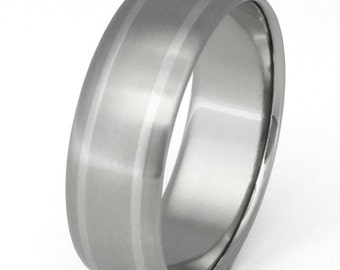 Platinum Titanium Band - Two Platinum Stripes Ring - p11
