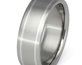 Platinum Titanium Band - Two Platinum Stripes Ring - p8