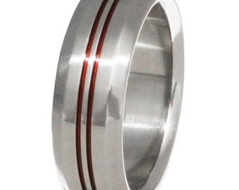 Thin Red Line Titanium Band - Firefighter's Ring - Two Red Lines- r26