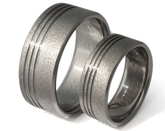 Titanium Wedding Band Set, His and Hers, Matching Wedding Rings - stf1