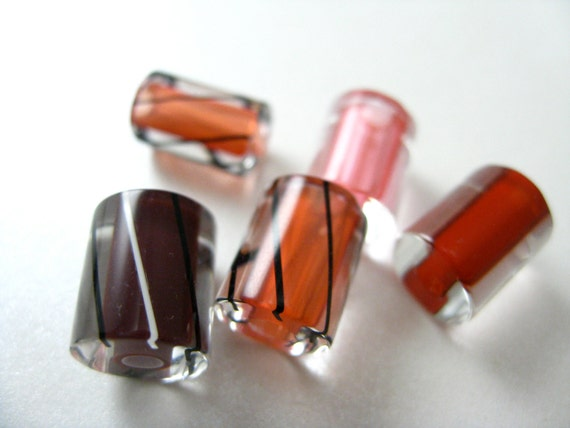 Cane Glass Beads Red Mix
