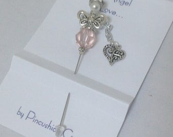 Angel Stick Pin - Angel Love - Heart Dangle - Lapel Pins - Quilter Gift - Dress up your Pincushion - Cardmaking Embellishment