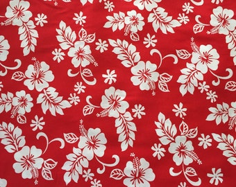 LAST YARD Hawaiian Kawaii Fabric Hibiscus Pareo Print in Red 1 yard
