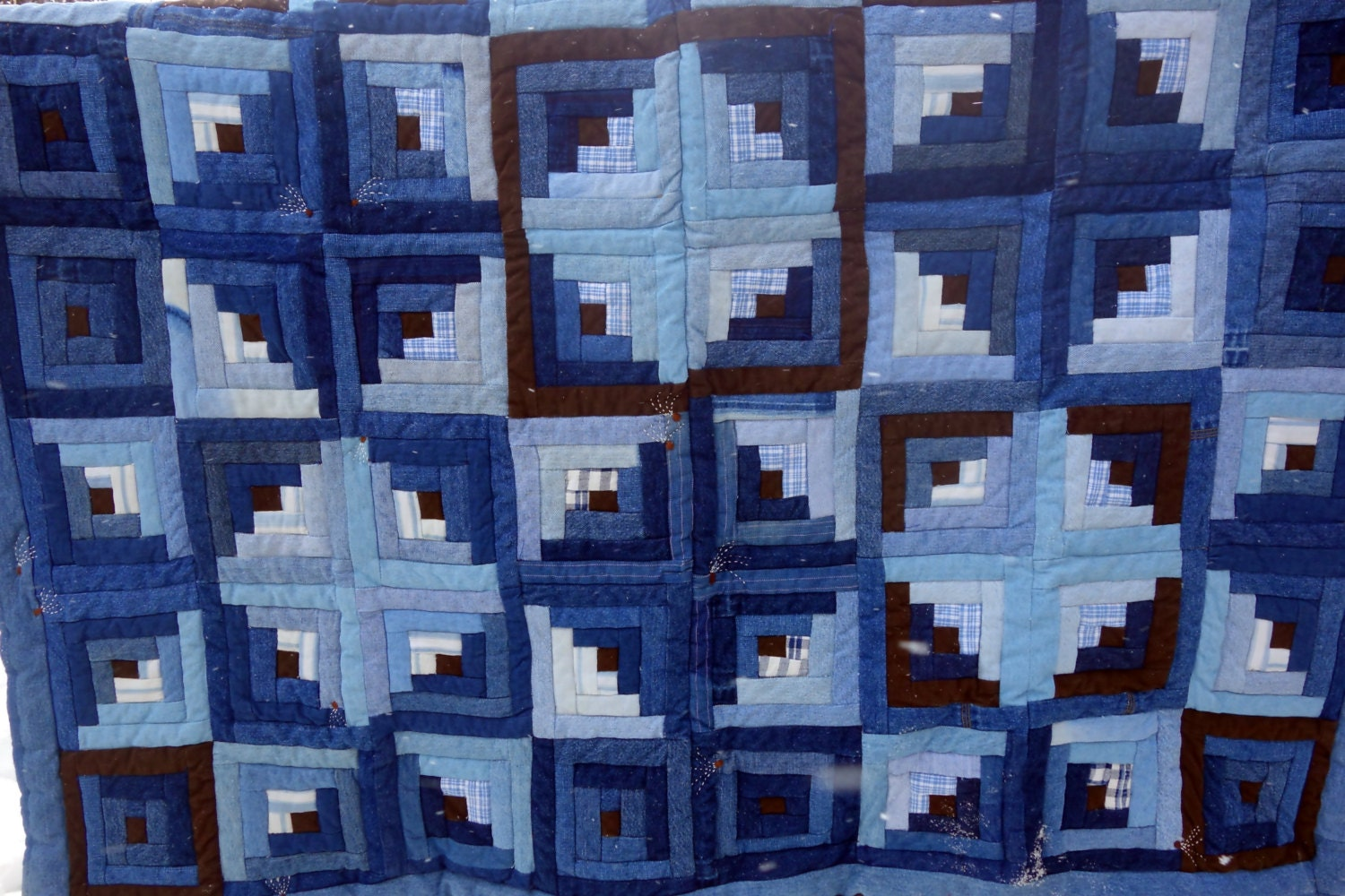Blue Jean Quilt Log Cabin Touching Stars Upcycled Denim