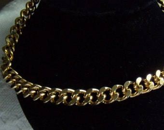 """Chunky Chain Link Necklace 18"""" Goldtone Vintage"""