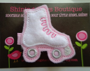 Hair Accessories - Felt Hair Clip - Wild Orchid Pink And White Rollerskate Boutique Embroidered Hair Clippie For Girls