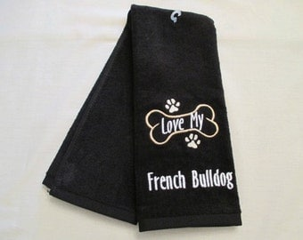 French Bulldog Hand Towel, Pet Towel, Grooming Towel, Embroidered Dog Towel
