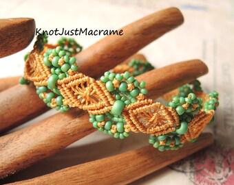 Sage Green Hydrangeas Beaded Macrame Bracelet  Micro Macrame Mustard Yellow