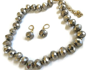 Vintage Silver Rondelle Crystal Beads Necklace and Earrings Demi Parure Set