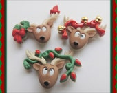 Reindeer Buttons Sewing Craft Button Christmas Holiday Embellishment