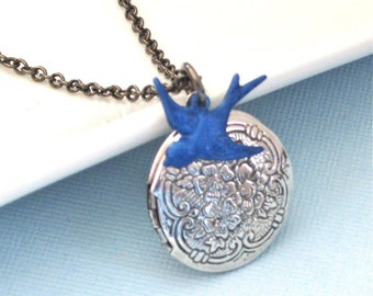 Small Bird Silver Locket Necklace - Blue Bird Necklace,