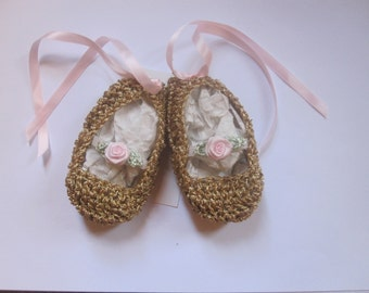 Baby Girl Ballerina Booties Ballet Crochet Golden Slippers Pink Rose Satin Ribbons Shower Gift Newborn infant heirloom
