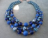 Vintage Japanese Three Strand Blue Glass Beads Necklace