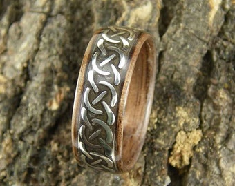 Bentwood Mens Ring Walnut with Celtic Cross Patterned Sterling Silver inlay