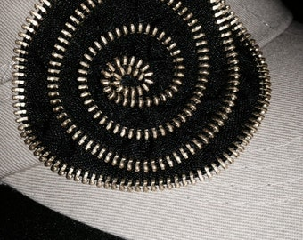 Womens Hat Cottage Chic Flower Decoration Khaki Cadet Cap Black Metal Zipper Embellished